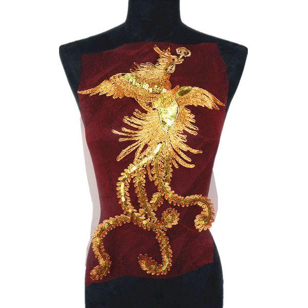 Gold Pailletten Phoenix Bird Red Mesh Bestickt Brautkleid Appliques Spitzenborte Nähen Auf Flecken Für Kleid DIY Dekoration