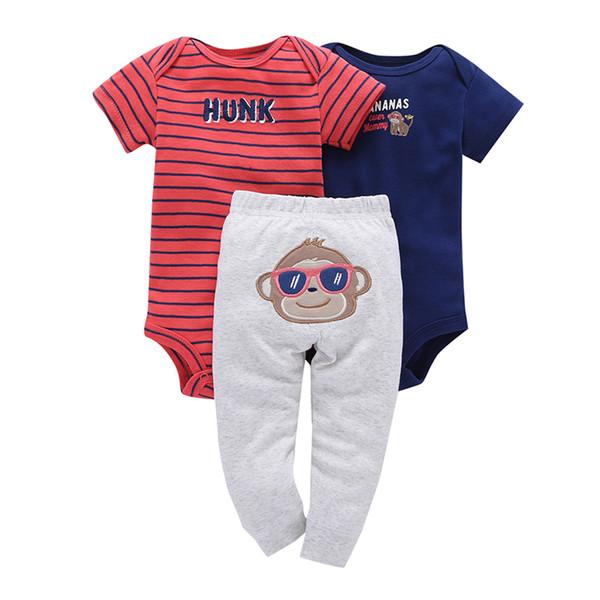 Summer 2019 Newborn Baby Boy Girl Clothes Set Infant Clothing New Born Outfit Cartoon Animal Print Suit Romper+bodysuit+pant J190427