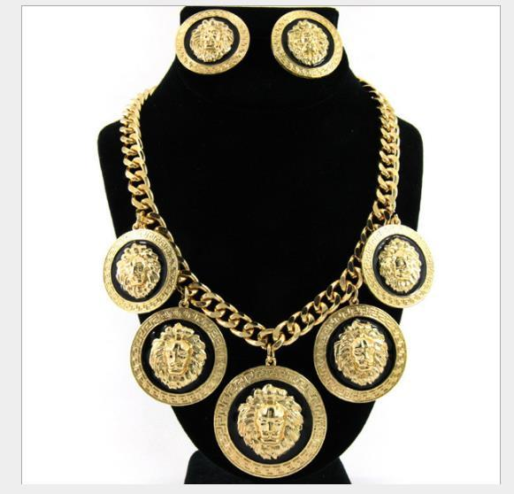 Fashion high quality alloy Lion Head Pendant Necklace suit for women's Earrings