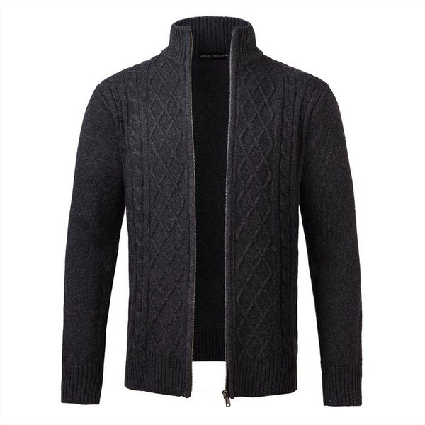 VOBOOM Dark Gray Sweater Coat Men Woolen Blend Autumn Winter Casual Zipper Knitted Slim Fitted Long Sleeve Sweaters Jacket 100