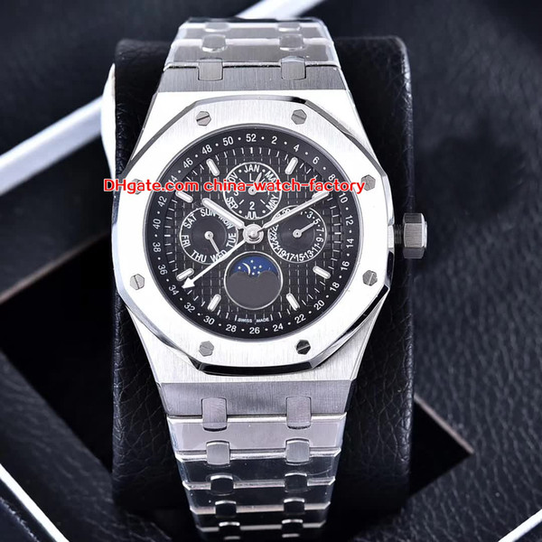 4 color luxury watch 44mm off hore 26574 26574ba oo 1220ba 01 tainle teel tran parent mechanical automatic men watche