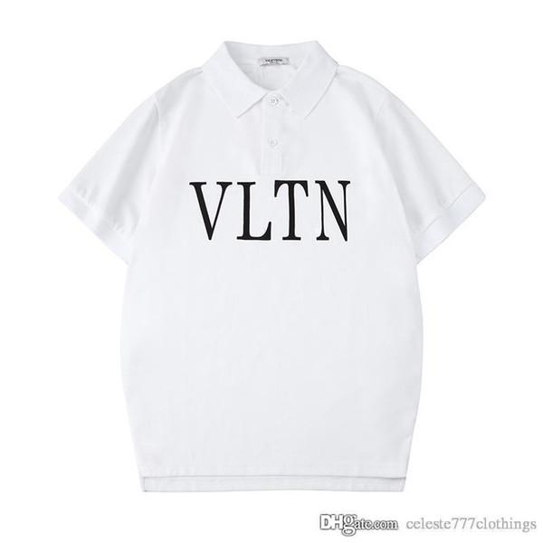 2019 nouveaux mens designer polos chemises revers polos manches courtes en coton couleur soild couleur lettre noire motif mode hommes vêtements