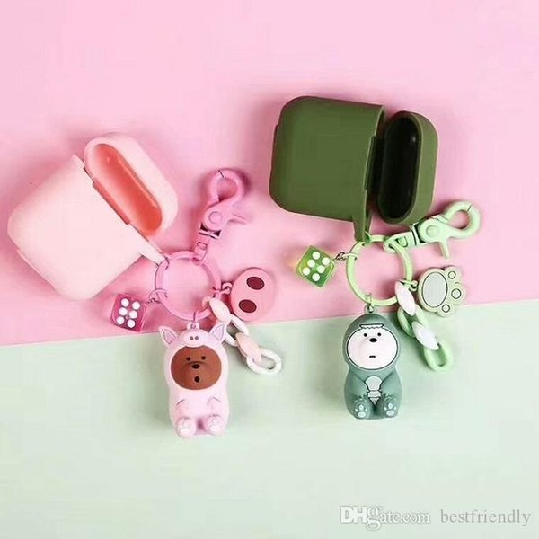 Pets Horse penguin Protective Headphone Case Shell Cover Carabiner Car Keychain for airPods Bluetooth Headset Motor Car Key Chain Ring