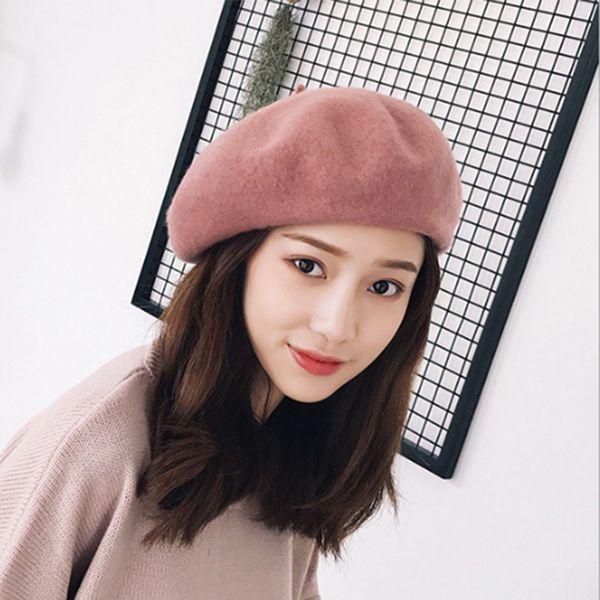 2019 moda inverno Chapéus por Mulheres Wool Beret Quente Francês Hat Feminino Chapéus das senhoras Lã Sólidos Felt Beret Feminino Beanie