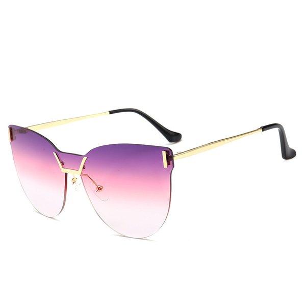 66c2adaf6636e 2019 Hot Marca Sem Aro Óculos De Sol Famoso Designer de Mulheres Óculos de  Olho de Gato de Alta Qualidade Óculos de Proteção UV de Luxo Gradiente  Eyewear Na ...