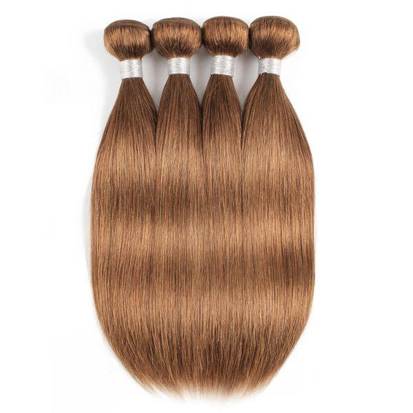 #30 Light Golden Brown Straight Human Hair Bundles Brazilian Virgin Hair 3/4 Bundles 16-24 Inch Remy Human Hair Extensions