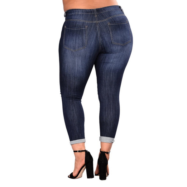 Fashion Women Jeans Plus Size Sexy Ripped Hole Distressed High Waist Mom Skinny Jeans Female Casual Hollow Out Denim Pencil Pants
