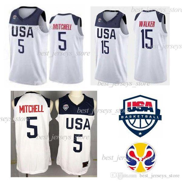 2019 Copa Mundial de Jersey del equipo de EE.UU. 5 Donovan Mitchell Kemba Walker 15 10 Jayson Tatum 9 Jaylen Brown camiseta de baloncesto