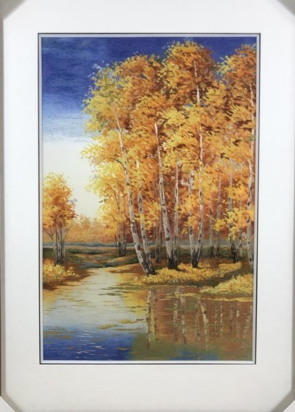Handmade Art Crafts 100% Mulberry Silk Thread Finished Suzhou Embroidery not include frame , Business gifts gold trees 40*60cm