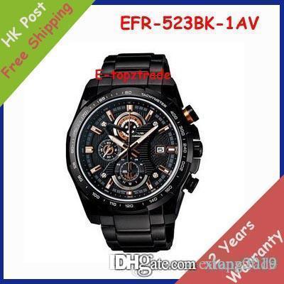 venda quente New EFR-523BK-1AV dos homens do relógio cronógrafo Desporto de 523 523BK aço inoxidável Gents All Black Dial Relógio de pulso EFR-523BK-1A + Origi
