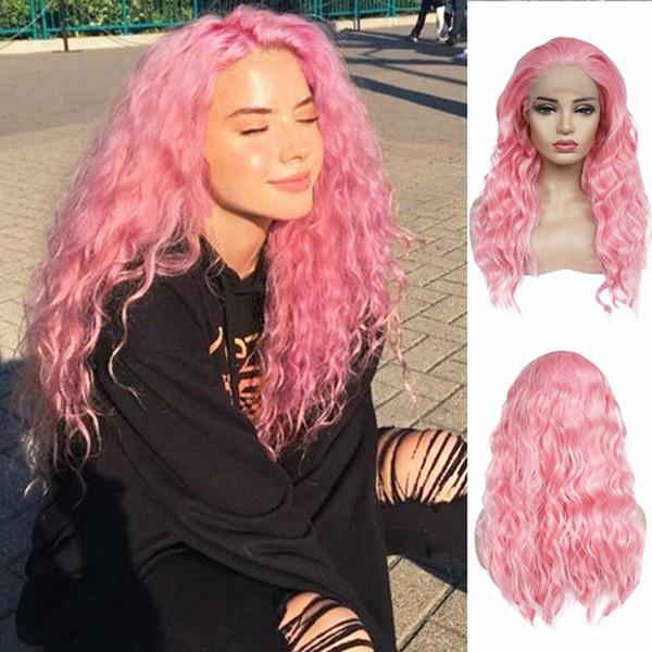Güzel Pembe Renk Uzun Kıvırcık Dalgalı Saç 180% Yoğunluk Isıya Dayanıklı Sentetik Dantel Ön Peruk Bebek Saç Cosplay Siyah Kadınlar için Seksi Peruk