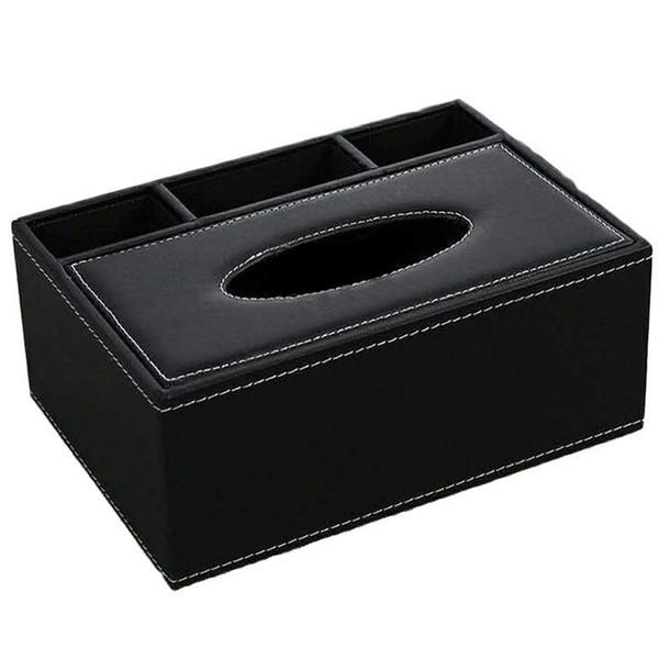 Leder Tissue Box Fernbedienung Halter Multifunktionale Desktop Organizer Bleistift Schere Container Schwarz
