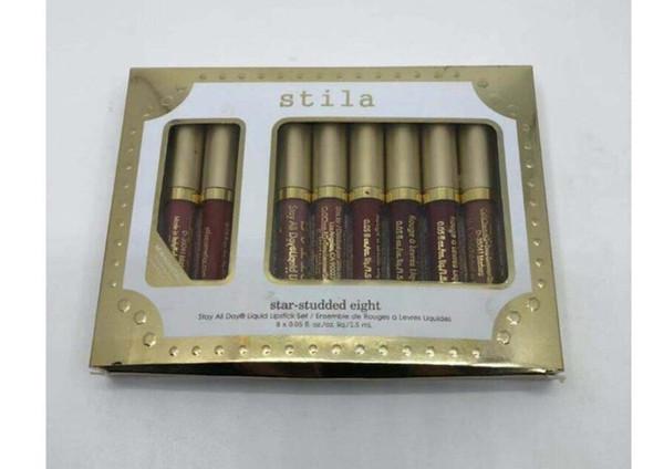 Stila Star-studded Eight Stay All Days Liquid Lipstick set 8pcs/ box Long Lasting Creamy Shimmer Liquid Lip Gloss DHL free shipping