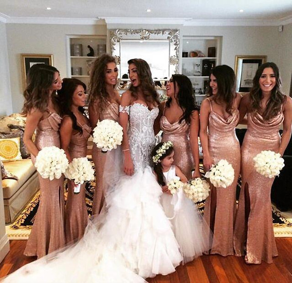 2019 New Sparkly Sequined Mermaid Bridesmaid Dresses Rose Gold Sexy Straps Spaghetti Front Slit Maid Of Honor Gowns For Wedding Party