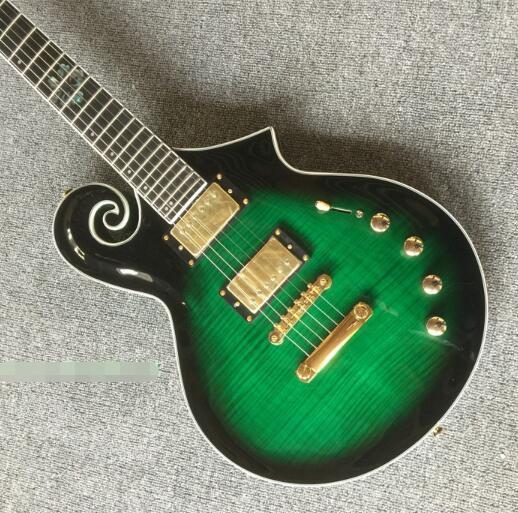 Electric guitar green rose wood fingerboard flowers inlaid guitar instruments
