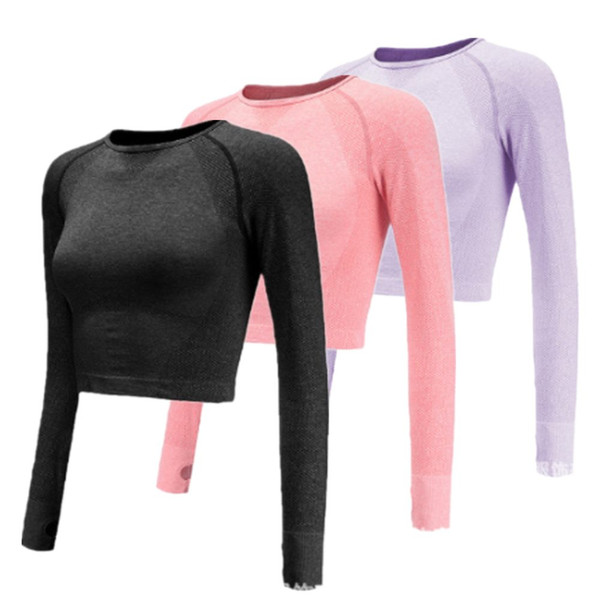 BARBOK Autumn Seamless Yoga Camicie Donna Colore sfumato Manica lunga crop Top Sexy Gym Workout Running Top Sport Shirts