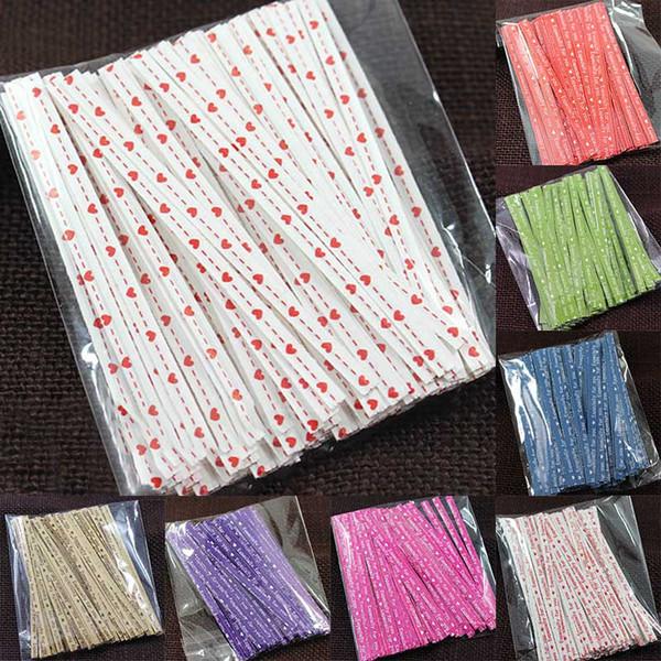 100 Adet / paket Renkli Noktalar Büküm Bağları Şeker Kek çanta süsleme Lolipop Hediyeler için Paket Sarma DIY Düğün Dekorasyon
