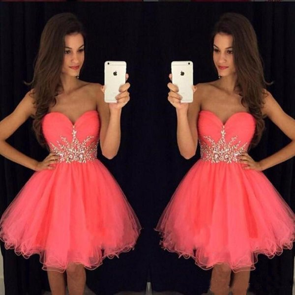 Cheap Stylish Short Homecoming Dresses For Juniors 2019 Crystals Beaded Sash Ruffle Tulle A Line Sweetheart Sleeveless Mini Prom Party Gowns