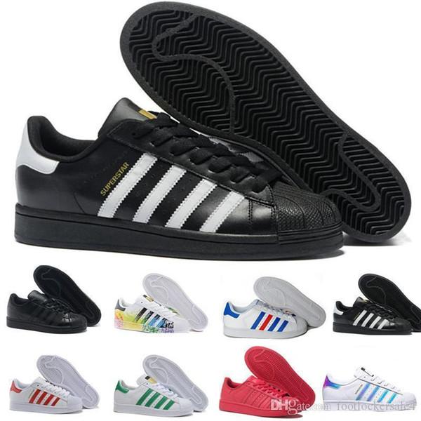 Superstars 2019 Herren Freizeitschuhe Weiß Schwarz Stan Smith 80er Jahre Pride Leather Flats Designer Damen Running Sports Sneakers Größe 36-45