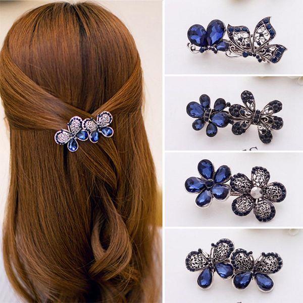Blue Peacock Hairpins Rhinestone Crystal Flower Leaf Hair Clip Barrettes Vintage Hair Accessories Jewelry For Women Girls