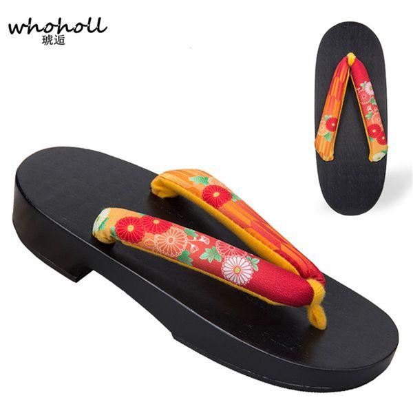 WHOHOLL Japanese Kimono Clogs Wooden slippers Women Geta Anime Cosplay Costumes Floral Flip Flops Geta female Summer Sandals