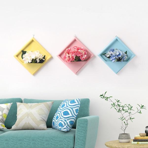 Nuevo jarrón de marco de madera para la decoración de la pared del hogar Marco de fotos Tapices de pared Maceta y flores artificiales falsas Set picture
