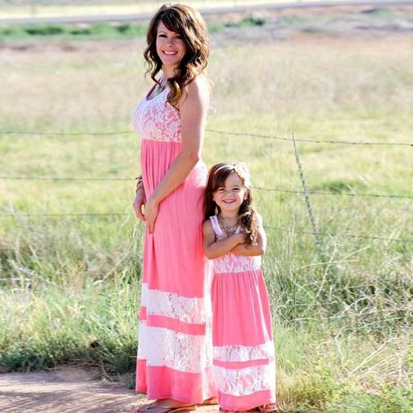 Mommy And Me Family Matching Mother Daughter Dresses Clothes Striped Mom Dress Kids Parent Child Outfits Family Look Clothing Y19051103