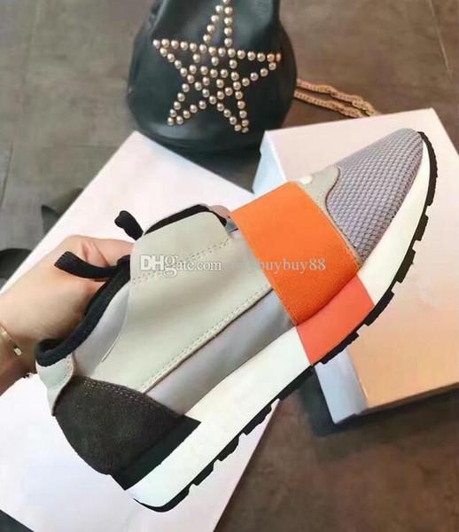 2018 Nuevo diseñador Race Runner Shoe Hombre Casual Mujer Zapatilla de deporte de moda Colores mezclados Lace Up Entrenador de malla Zapatos Tamaño 35-46 Con caja