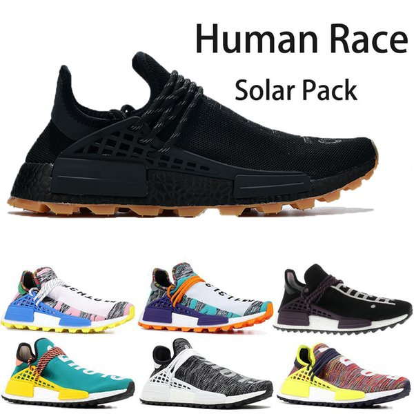 2019 Wholesale Human Race Pharrell Williams Hu Trail BBC Red Plaid NERD Lightweight High Quality 2019 New Sports Shoes For Sale Boots Size 5 11 From