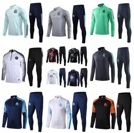 top popular 19 20 Marseille Men football training tracksuit Real madrid soccer training suit 2019 2020 Paris MBAPPE survetement de foot chandal jogging 2020
