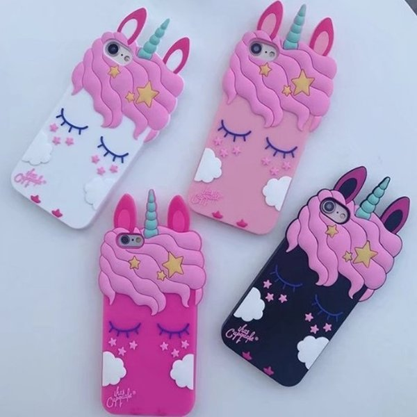 For Samsung Iphone Android Phone Shell Cartoon Cute 3D Pink Unicorn Silicone Phones Cover Case Durable Silica Gel Cellphone Cases 7gj BB