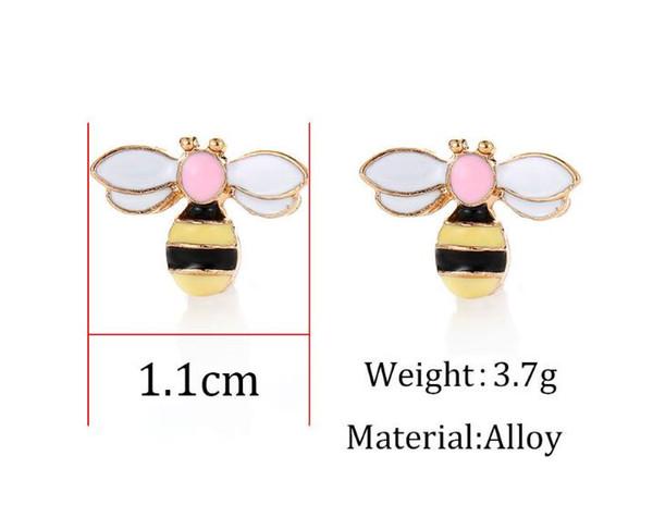 2019 nouvelle mode belle petite abeille gouttes huile Honeybee boucles d'oreilles pour les femmes boucles d'oreilles peu abeille boucles d'oreilles 12 paires / lot