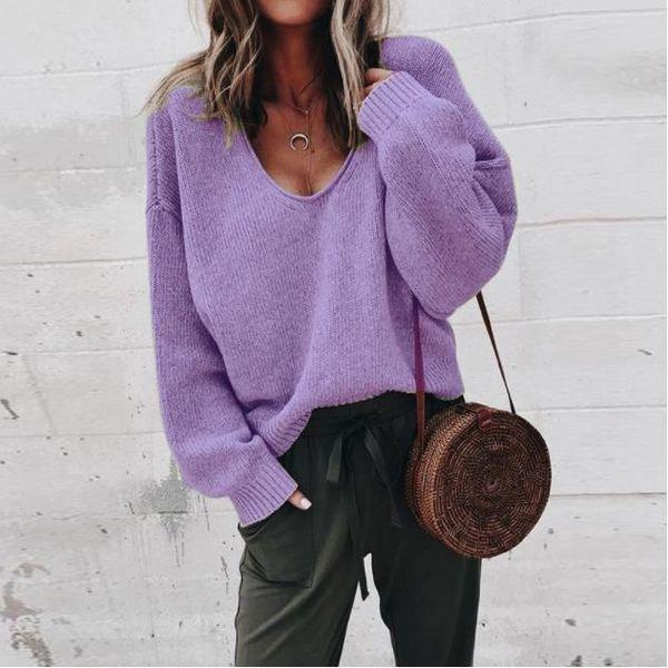 Frühling Frauen Pullover Langarm V-ausschnitt Bunte Lose Strickjacke Europäischen und Amerikanischen Stil Mädchen Spitzenkleider