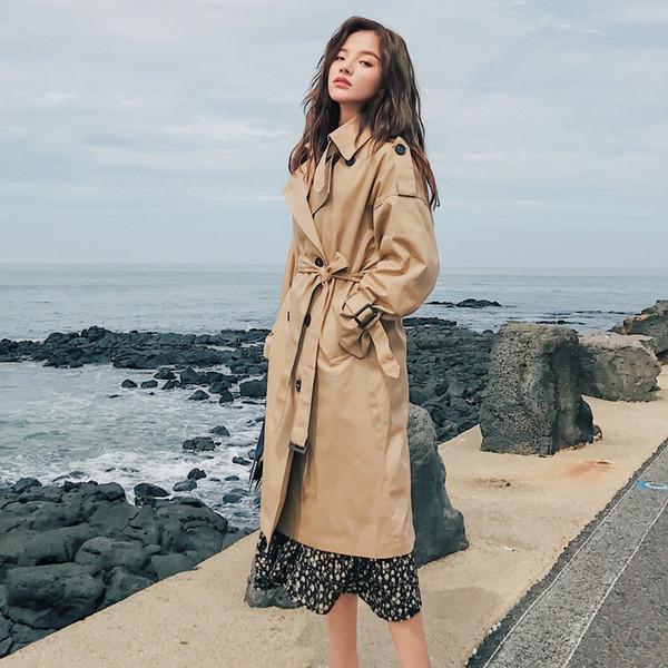 2019 Fashion Brand New femmes trench long double boutonnage Ceinture Kaki Office Lady Vêtements Automne Vêtements printemps Qualité