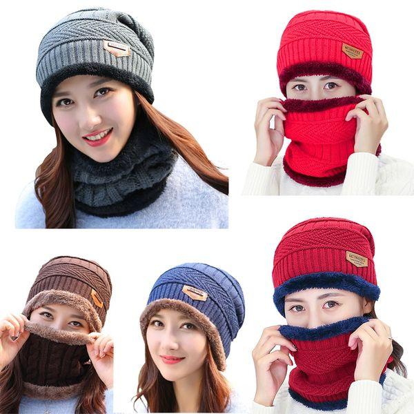 Unisex Winter Autumn 2pcs Warm Knitted Hat + Muffler Snowflake Chapeau Cap Hockey Ski Beanies*H
