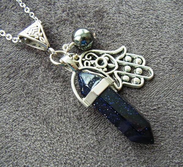 Pendentif en pierre naturelle Druzy Drusy Hamsa main de Fatima Collier prisme Hexagonal Bullet Les cristaux de quartz Point de guérison Chakra Bijoux d'amitié