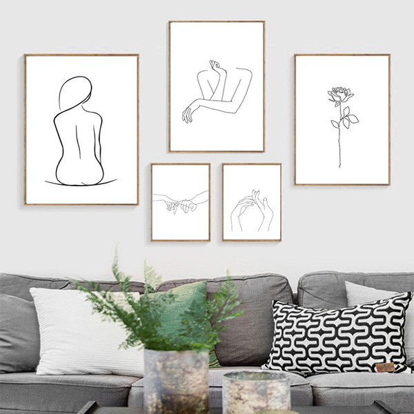 Sexy Woman Body Line Drawing Prints & Poster Human Figure Kiss Rose Flower Canvas Painting Picture Print Girl's Room Decoration
