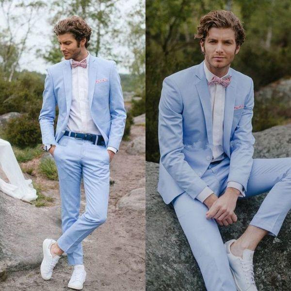 Légers ciel bleu costumes pour hommes smokings de mariage pays hommes formel costume décontracté marié porter jeunes costumes de remise des diplômes (vestes + pantalons)