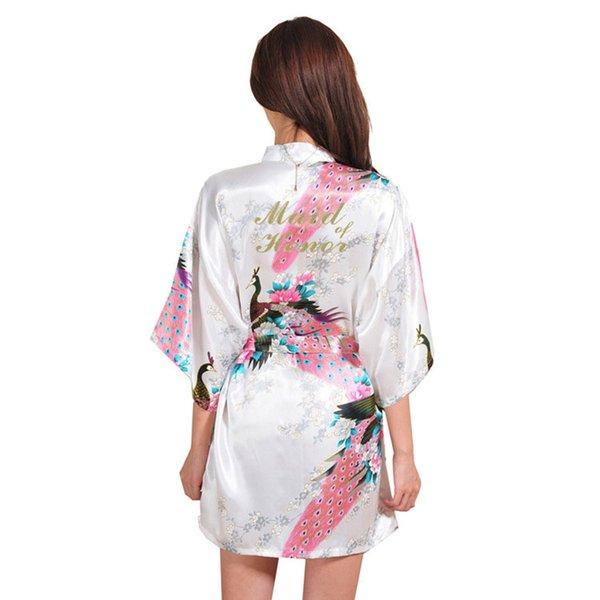 Bronze Word Maid of Honor Silk Thin Dresses for Women Robes Peacock Peonies Picture Wedding Makeup Short Style Women Robe