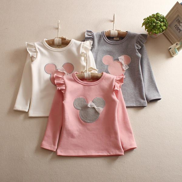 Long sleeve baby girls cartoon T-shirt autumn fall girl bottom tshirt kids fly sleeve top tees children clothing