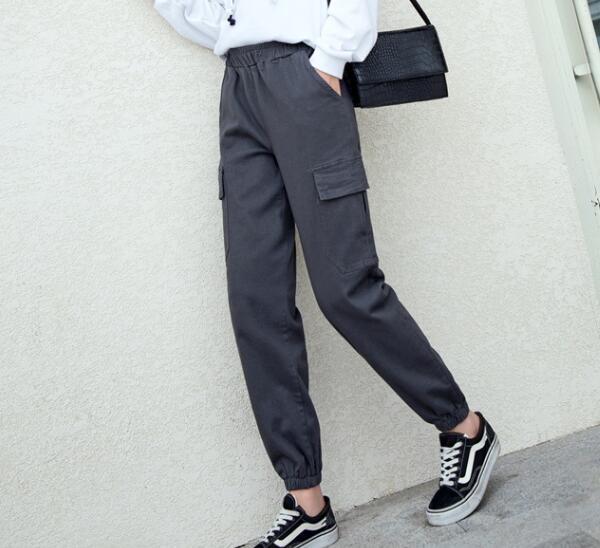Nouveau mode sarouel femmes, plus la taille noir gris coton mélangé printemps automne ealstic taille casual capris taille haute wxq0902