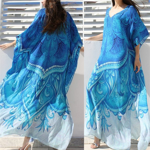 Oversize Ocean Blue bohemio impreso Kaftan vestido de playa Talla grande Túnica de verano de las mujeres Ropa de playa Maxi vestido de bata N669 Y19051001