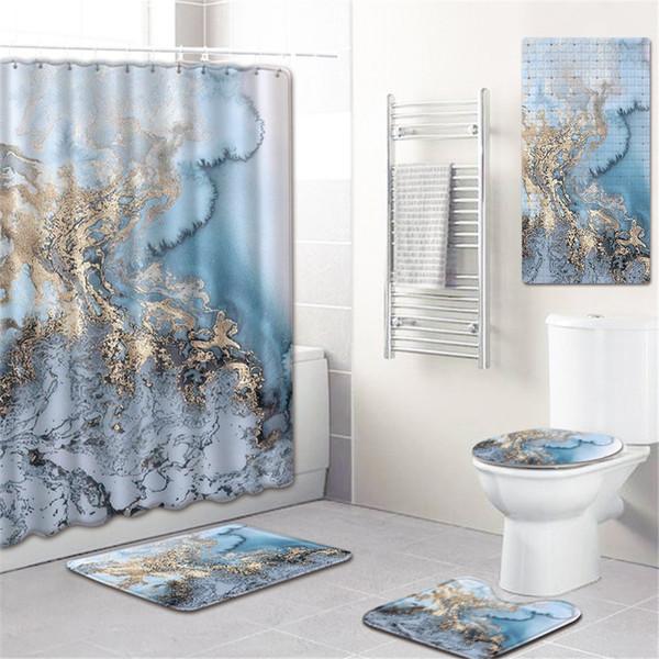 Farmhouse Decor 3d Shower Curtains with Hooks 5 Piece Bathroom Carpet Set Anti Slip Bath Mat Marble Toilet Rugs Set Blanket