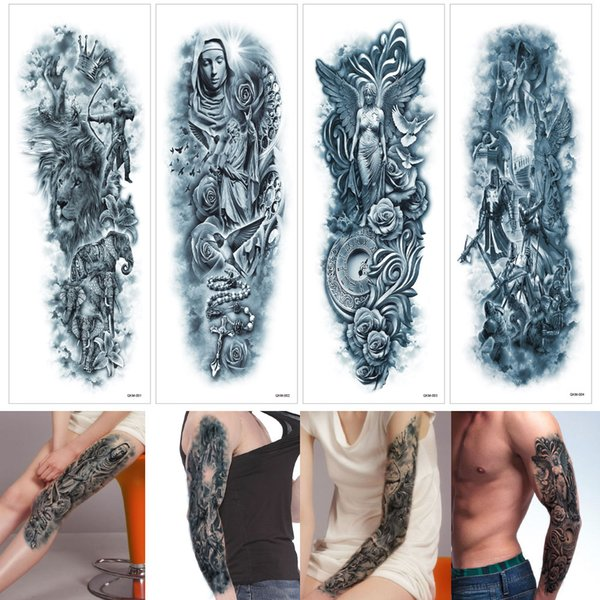 48x17cm QKM Blue Large Ancient Greek Mythology Mix Design Temporary Tattoo Leg Full Arm Sleeve for Woman Man Body Tattoo Stickers Excellent