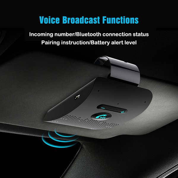 Bluetooth Hands Free Car Kit Hifi Speaker 2W Wireless Audio Receiver MP3  Music Player Noise Cancelling Sun Visor Clip Car Audio Dealer Car Audio