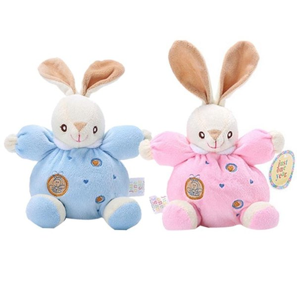 Super soft soothing baby toy rabbit bell plush doll bed hanging music BB rattle children education bite