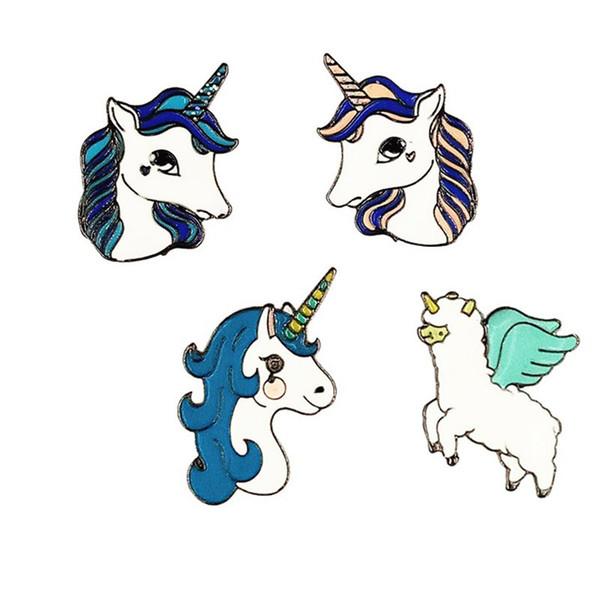 Fashion Cartoon Unicorn Button Pin Badge Collar Pin Brooch Women Fashion Bag Jean Hat Accessories Cute Jewelry B130