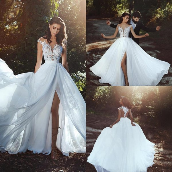 Robes de mariée bohème 2019 Cheap Bohemian Wedding Dresses Sheer Neck front Slits Chiffon beach Boho Bridal Gowns Sexy Lace Garden Wedding