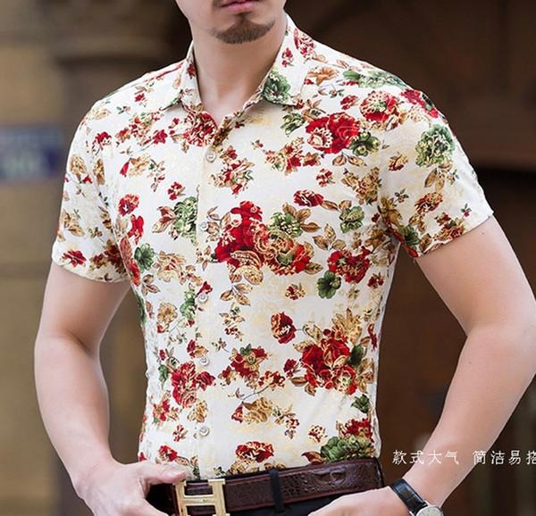 Short Sleeve Thin Fabric Shirt Men Flower Slim Fit New Summer Casual Men Clothing Floral Shirt Male Big Size 7XL Cotton G037