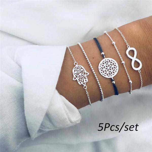 5pcs / set Bohemian Handmade Weave Letter Hollow Braccialetto Imposta donne corda catena gioielli accessori regalo di Natale